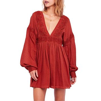 Free People - Sugarpie Mini Swiss Dot Dress in Cinnamon