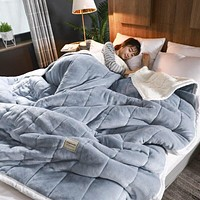 Warm Weighted Blanket Luxury Thick Blankets For Beds Fleece Blankets And Throws Winter Adult Bed Cover Super Soft