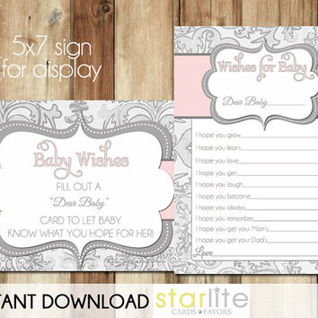 Well Wishes Card - Baby Shower Wishes for Baby - Pink Grey Shimmer - instant download - Baby Girl - shower game - PRINTABLE CARD DESIGN