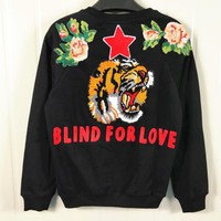 Back Big tiger flowers red star round collar embroidery Sweatshirt Sweater