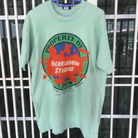 Vintage 90s Nickelodeo Studios Universal Studios Florida T Shirt Size M