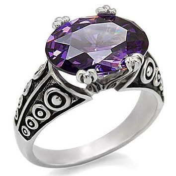 Vintage Rings TK017 Stainless Steel Ring with AAA Grade CZ in Amethyst