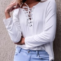 White Plain Hollow-out V-neck Lace Up Long Sleeve T-Shirt