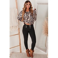 Wildly In Love Leopard Hooded Top (Brown Taupe)