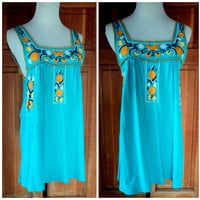 Vintage Blouse Embroidered Tank Peasant Top Hippie Turquoise Soft Cotton Boho Chic Floral Embroidery S