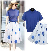 Blue Short-Sleeve Knitted Shirt + White Dotted Pleated Midi Skirt