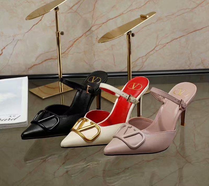 Image of Valentino Fashion Trending Leather Women High Heels Shoes Women Sandals Heel