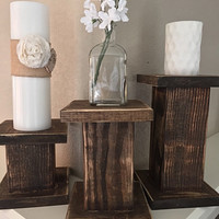 SET of 3- Shabby Chic Distressed Pillar Candle Holders | Wooden Columns | Fixer Upper Decor | HGTV |
