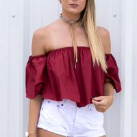 Posie Off The Shoulder Ruffle Crop Top - Red