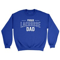 Proud lacrosse dad  team squad game day sport dad love lacrosse Father's day Crewneck Sweatshirt