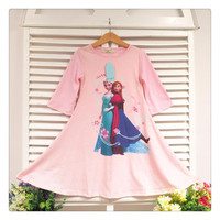 5pcs Frozen Kids Girls Autumn Dresses 2014 Children Elsa Anna 7th Sleeve Cotton Dress Clothing Childs Girl Cartoon Snow Queen Dressy.