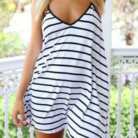 White Striped V-Neckline Backless Mini Dress