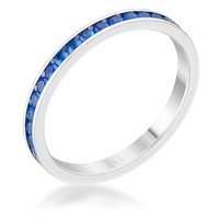 Teresa Sapphire Silver Eternity Ring   1ct   Stainless Steel