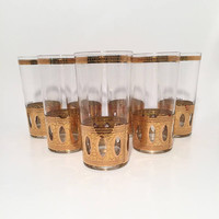 Culver Antigua Gold Tumblers, Mid Century mod Drinking Glasses, Set of 7 22k Gold Hollywood Regency