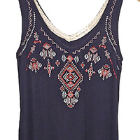 Embroidered Front Swing Tank Top