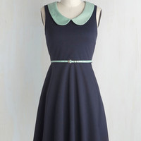 Vintage Inspired Mid-length Sleeveless A-line Work to Play Dress in Navy