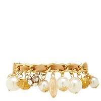 Pearl, Ribbon & Chain Charm Bracelet by Charlotte Russe - Gold