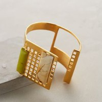 Leigh Grid Cuff by Stanmore Yellow One Size Bracelets