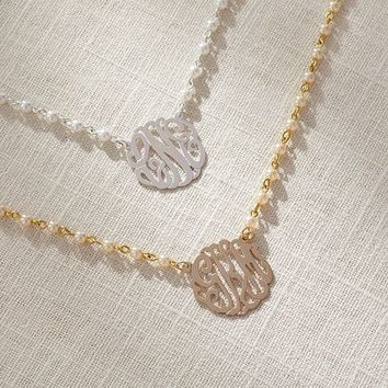 Initial Reaction Pearl Monogram Necklace