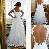Backless Wedding Dress, Bridal Gown ,Dresses For Brides, PM0028