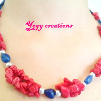 Red coral blue aventurine stone bead three string silver bead necklace jewelry gift by Yogy's