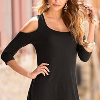 SIMPLE - Women Fashionable Summer Off Shoulder Round Necked Short Sleeve T-Shirt a10959