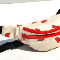 Unique water melon motive pouches,belt pouch, travel pouch,  pack, waist pouch, hip bags, waist bags, hip pouch, belt pouches, canvas pouch
