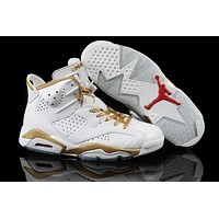 Air Jordan 6 white/gold  Basketball Shoes 41-45
