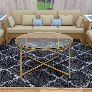 """36"""" Glass Top Coffee Table With Metal X-Base, Gold By The Urban Port"""