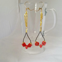 Red x Gold Leather Dangle Earrings, Gifts for Women, Leverback Style Earrings, Bright Colors, Modern