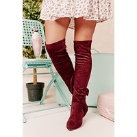 Missed Your Chance Thigh High Boots (Burgundy)