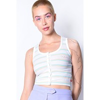 Cropped Button Front Tank Top by Dickies Girl