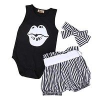 Pudcoco 3PCS 2017 Newborn Baby Girl Clothes Summer Sleeveless Slip Romper +Striped Bottom Outfit Toddler Kids Clothing Set
