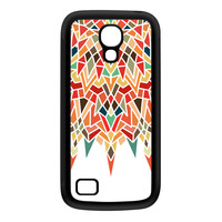Unique Mandala Geometric Colorful Pattern on White Black Silicon Rubber Case for Galaxy S4 Mini by UltraCases