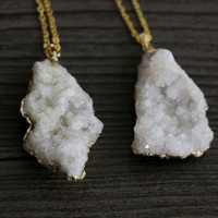 White Agate Geode Crystal Necklace - Natural Raw Chunky Stone Gemstone Semi Precious White Pendant Dipped Coated Piece