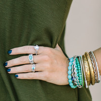 Hammered Turquoise Ring Set