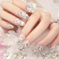 24 Pcs Fashion 3D Women's French Bridal Wedding Nails Rhinestones False Nail Art Design Acrylic Full Fake Nail Tips For Bride