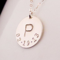 Initial Birth Date Necklace, Mothers Necklace, Mommy Jewelry, Silver Disc Necklace, Initial Birthday Necklace,Anniversary