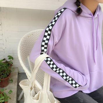 Purple Checkered Stripe Hoodie