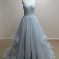 Sweetheart Chiffon Prom Dresses,Grey Prom Dress,Evening Dresses