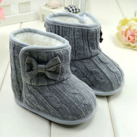 Baby Girl Knit Bowknot Faux Fleece Snow Boot Soft Sole Kids Wool Baby Shoes 3-18M