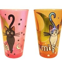 OFFICIAL Sailor Moon PREMIUM Foil Printed Luna and Artemis Pint Glass, 2-Pack 16oz