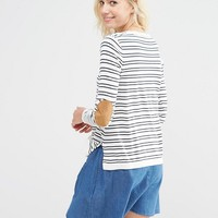 ASOS Sweater in Stripe with Oval Tan Elbow Patch at asos.com