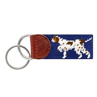 Pointer Needlepoint Key Fob in Classic Navy by Smathers & Branson