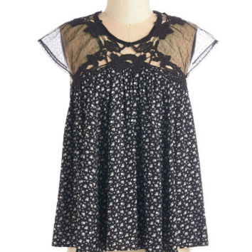 ModCloth Mid-length Cap Sleeves Tent Sweetest Saturday Top