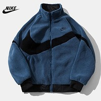 NIKE New fashion embroidery letter couple both sides to wear long sleeve artificial plush coat cotton clothing