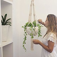 Macrame Plant Hanger - Handmade Hangers from Natural Cotton Rope - Large White 40 inch - for Hanging Plants Indoor, Outdoor - Modern, Boho, Art Décor Plant Holders by Discara