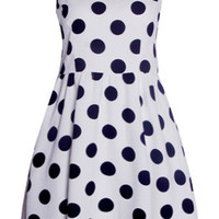 White Polka Dotted Sleeveless Skater Dress