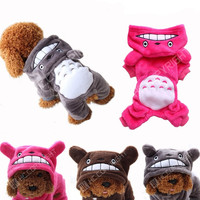 3 Colors Cute Totoro Chinchilla Style Puppy Hoodie Chihuahua Clothes Medium&Small Pet Dog Winter Warm Sweater Costumes Coat