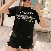 """"""" Versace"""" Woman Cool Casual Fashion Letter Pin Solid Color Printing Loose Large Size Short Sleeve T-Shirt Tops"""